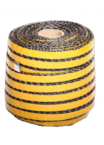 Kaminglasdichtung selbstklebend 8x3 mm schwarz / grau